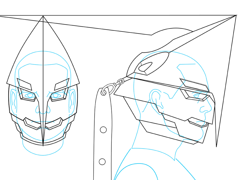 I traced the scale photo and then built the helmet around it. I tried to build in 1/2″ around my head to account for the thickness of the plastic. The risk in sizing it that tight is if you're off, you can spand a lot of time, money and materials on a helmet that may not it when you're done. On the positive side, since I'm using my oversized melon as the model, it should fit anyone else fine. There wasn't much reference to go on…only a few production drawings and screen caps. Working with the client, I was able to work out the details and made changes to make it more practical in the real world. I shortened the blades hanging off the back of the helmet to a little over 4 feet and shorted the head spike by about 8″. It still has the basic look and now it will be more functional.