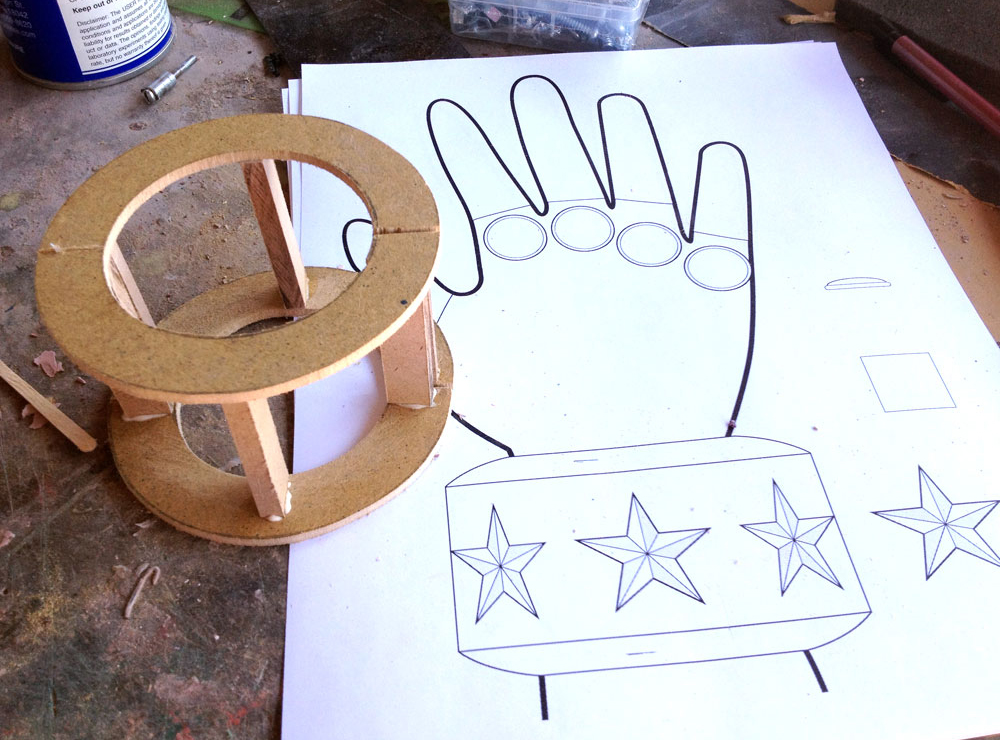 To test the cuff, I framed it in thin MDF.