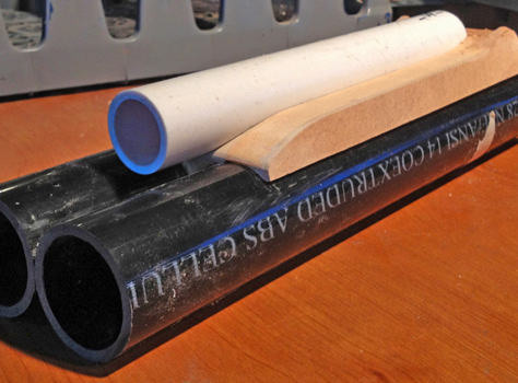 A PVC pipe was used for the magazine tube (although this shotgun is a breach loader and doesn't feed ammo from a magazine…for lack of another name, I'll call it a magazine).
