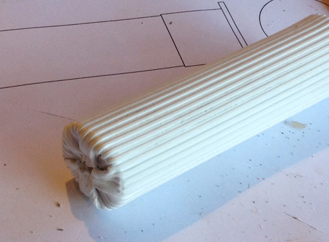 The dowel was clad in ribbed styrene and the end was heated and folded over. I wasn't that thrilled with the fold so I would have to recreate the end.
