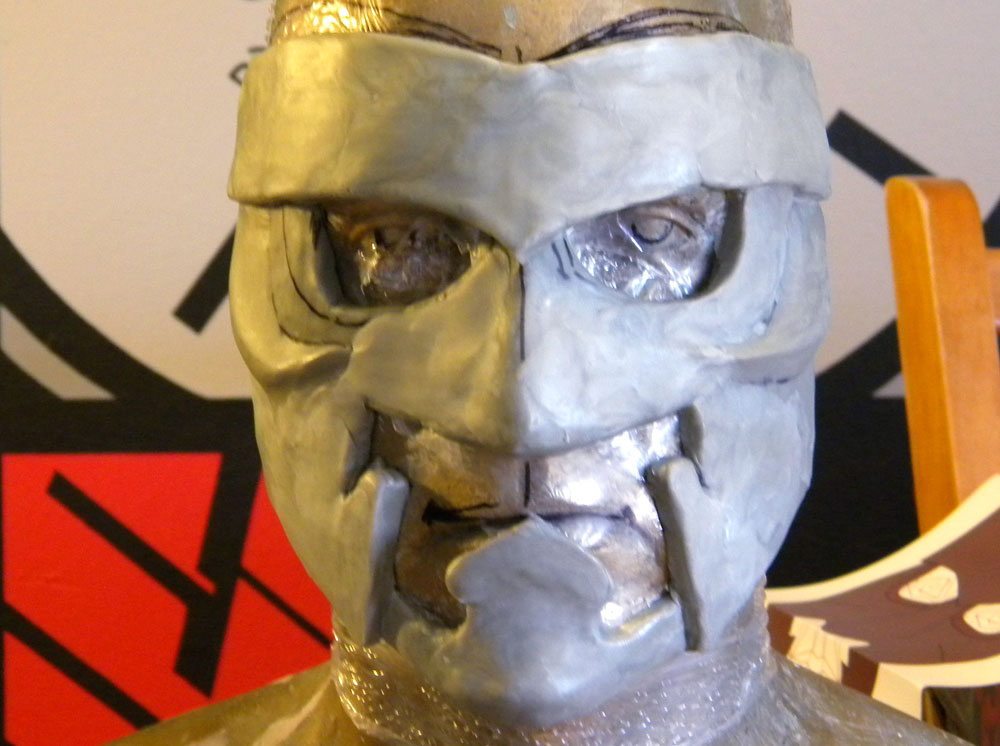 I decided to use Apoxie Sculpt (epoxy putty) to sculpt the mask master. I used this air-dry putty over clay because my sculpting skills aren't good enough to produce a finish smooth enough to simulate metal. The dry putty can be carved, Dremeled and sanded to a smooth surface before it is molded.