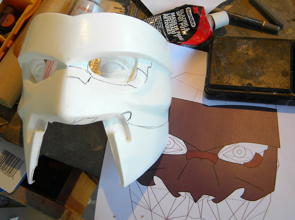 For the half mask, I cast a second copy and marked where I'd need to change it.