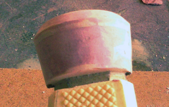 The smooth sanded pommel half.