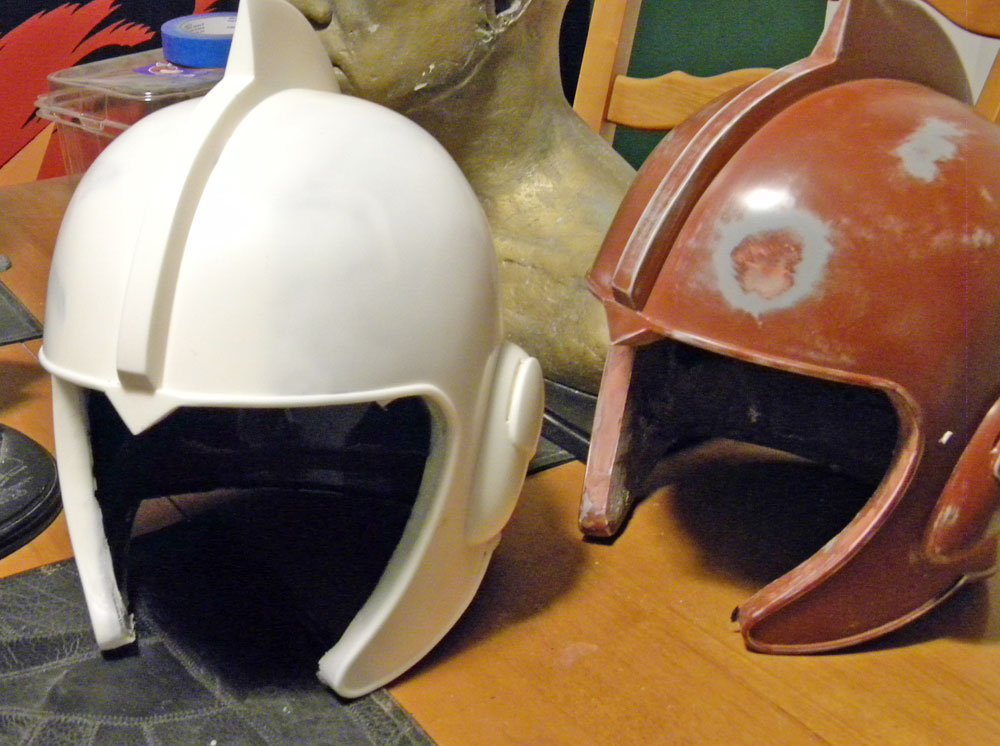 The demolded resin helmet copy. The master sits behind it.