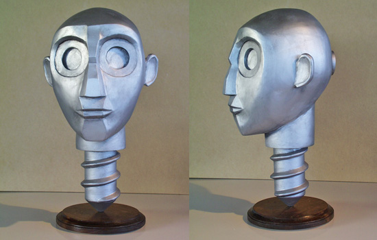 The final painted Head standing on his stained display base.