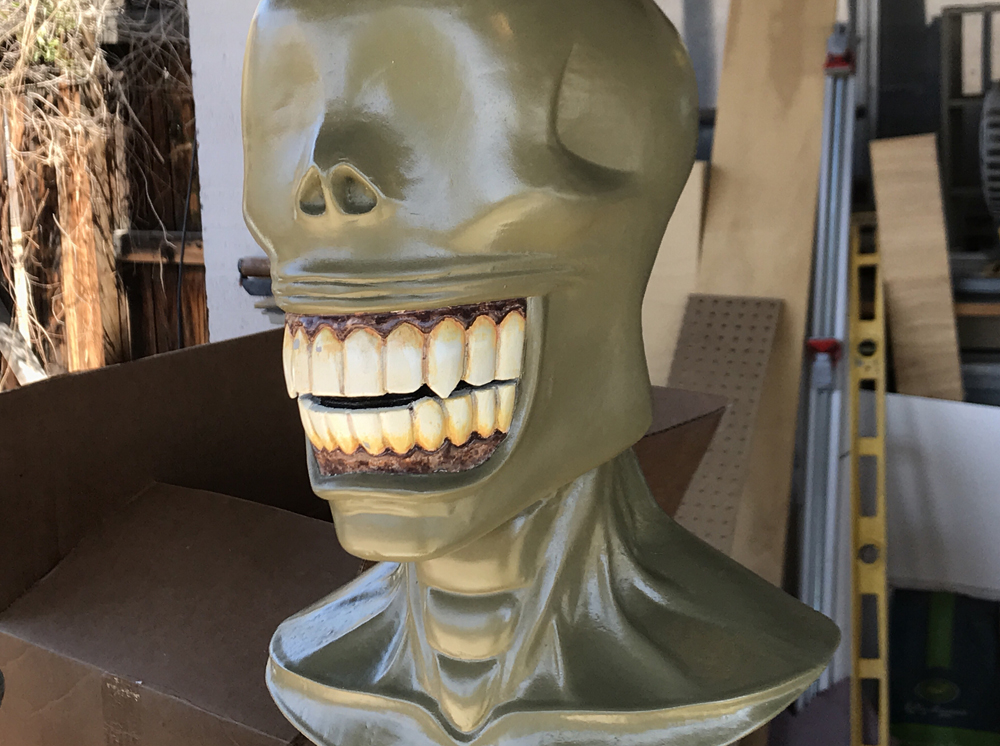 Next I painted the teeth, gums and base skin color. I used pictures of tooth and gum disease as reference …a fun afternoon of research.