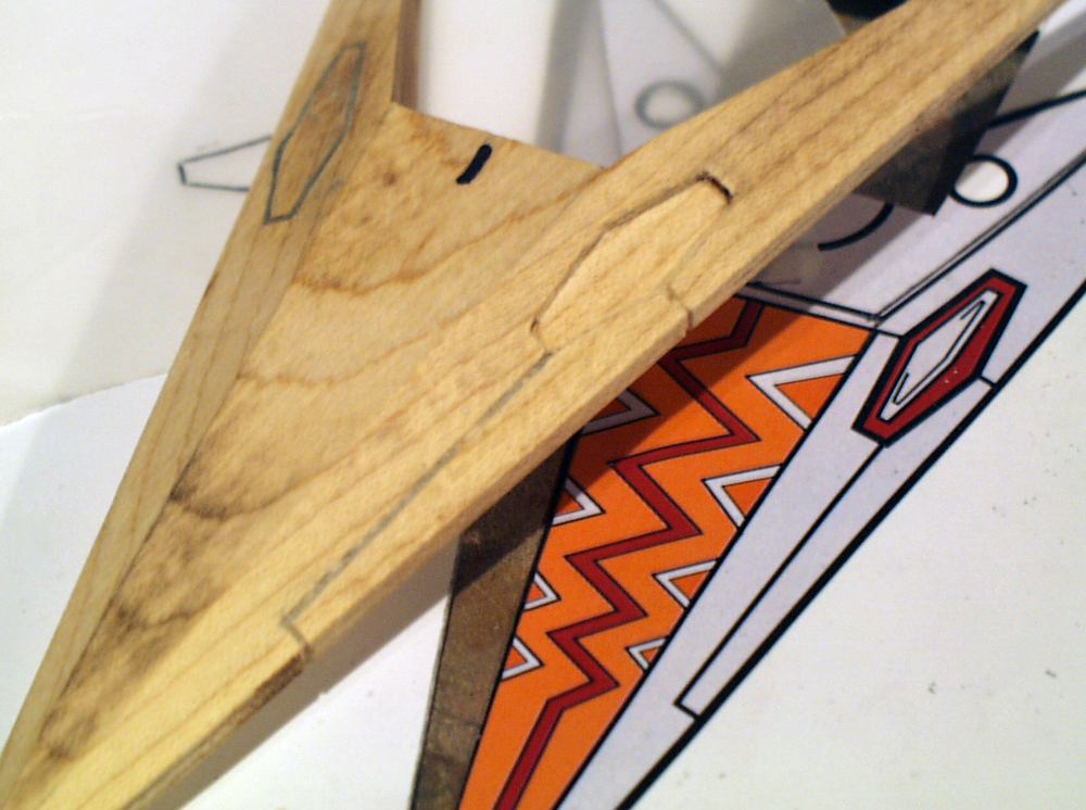 Before I attached it, I cut the details and panel lines into the arrowhead.