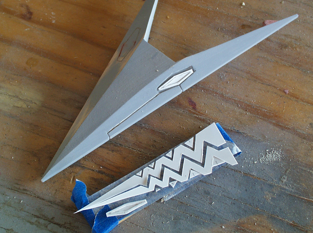 I cut the tail details from thin styrene.