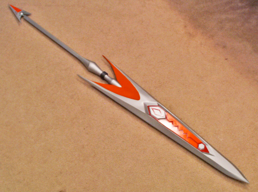 The final assembled lance. It is over 5 feet long.