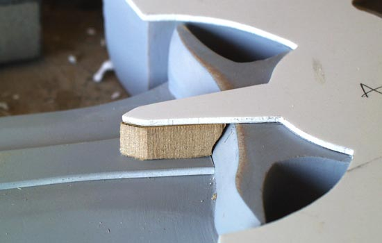 To bridge the distance from the rune strip to the bird, I cut some MDF spacers.