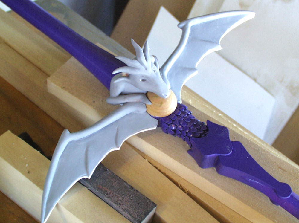 A test fit of the cast resin dragon hilt