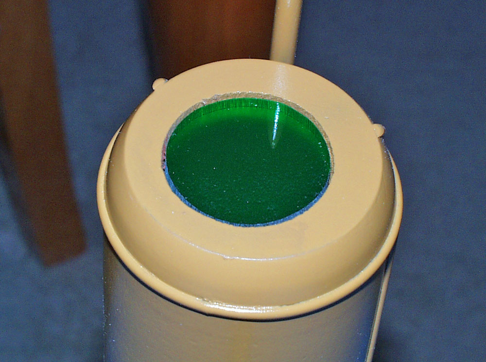 I back painted green acrylic and inserted it into the barrel.