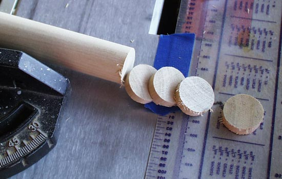 """The sight adjustment knobs were cut from a 1"""" dowel."""