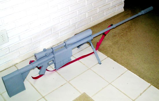 The final assembled rifle with a coat of primer (per client's request).