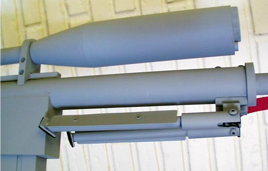 The folded bipod with added rubber feet.