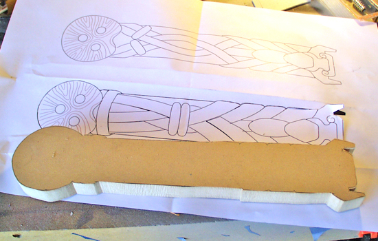 After sizing my template to fit the wielder's hand, I cut it out of 3/4″ MDF.