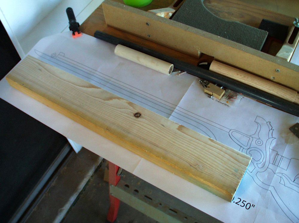 The barrel was cut from a plain ol' pine 2×4.