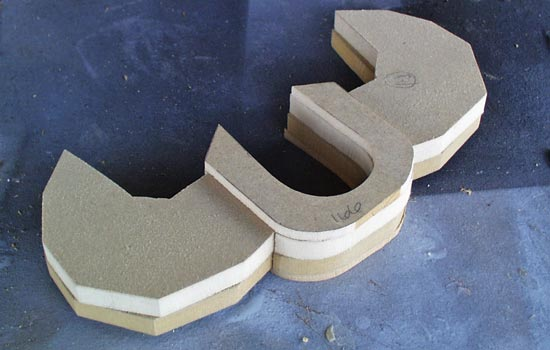 The cross guard was cut from several thicknesses of MDF.