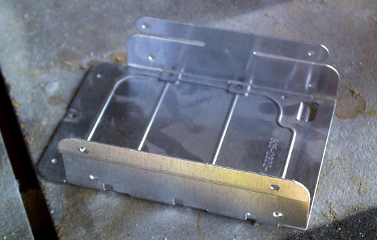 """Since the scabbard need to be wearable, I needed a metal """"belt loop"""". I had an old hard drive sled that would work."""