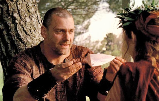 """I love the TV series """"Rome"""" and decided to make a copy of Titus Pullo's knife. It looks like a pugio but considering how crude it is, I suspect Pullo lifted it off a dead Gaul."""