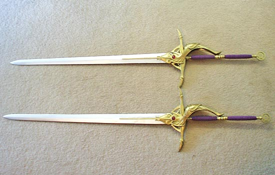 The final assembled swords. They are REALLY long (59″)!