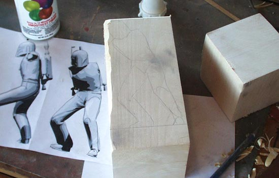 I had no source for Cottonwood Root so I decided to carve mine out of 4″ x 4″ x 8″ Basswood. In order to maximize the size of the figure, I planned to carve the arms and rocketpack separately.