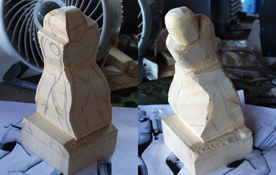 The first step was to cut of any excess wood (saved for arms and pack) and draw the rough figure for front and side profiles. I used razor and hack saws to carve the rough silouhettes for both profiles.