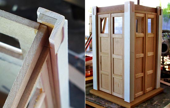 The panels were glued into the posts and beveled trim was added around and between the panels.