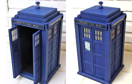 The final TARDIS! The phone door sign is a laser print from a tight screen cap.