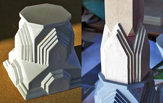 The final primered base. I used the same materials and technique to flesh out the next sections.