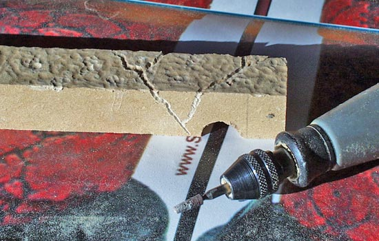 Then I used a fine grinding stone bit to add cracks.