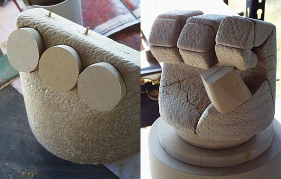 Texture added to the hand. With the hand texture done, it was time to tackle the disk-shaped knuckle plates. Since the back of the hand is rounded, I had to cut holes for the disks to sit into.