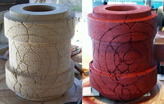 Forearm textured over several DAYS. After texturing, I sealed the MDF with a Sanding Sealer and then applied a rust red automotive Filler Primer.