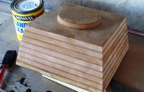 I used the same MDF method to build a sturdy base for the hand.