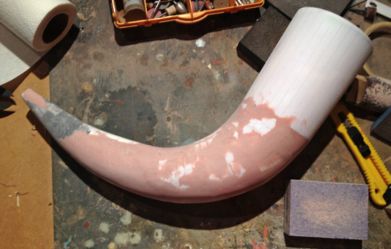Once the entire horn was cast, I smoothed out the folds by sanding and adding Bondo.