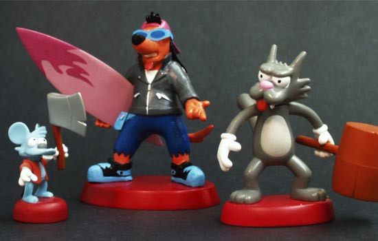 The base was made to match the existing Itchy and Scratchy figures.