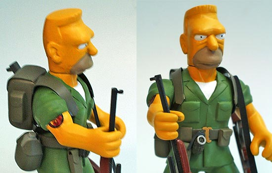 Here is Abe Simpson all assembled and painted. I also added his sergeant's stripes on his helmet and the Hellfish tattoo on his right bicep using laser decals. I did my best to replicate the details of the episode, fighting my urge to make the details accurate to real life.