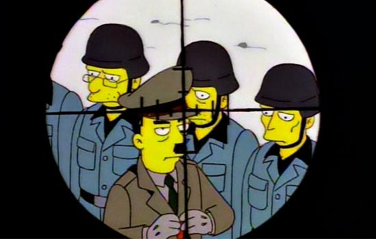 "Since all ""World Of Springfield"" playsets have spots for three action figures. The natural third banana should be Abe's sniper target, The Fuhrer himself."