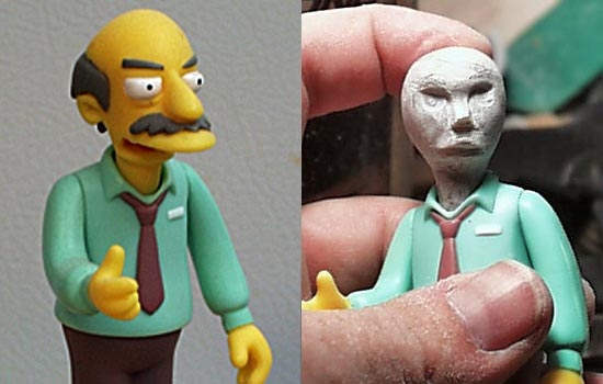"For a base figure, I started with a character called ""Sarcastic Man"". I soaked the figure in boiling water to soften the joints and then popped off the head. I molded a rough head out of Aves epoxy putty on a screw and once that dried, carved in the basic features."