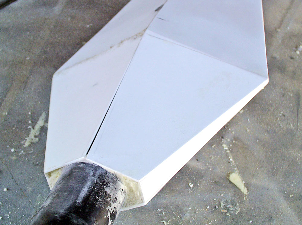 The four sides of the back of the blade were glued into place and filled with foam.