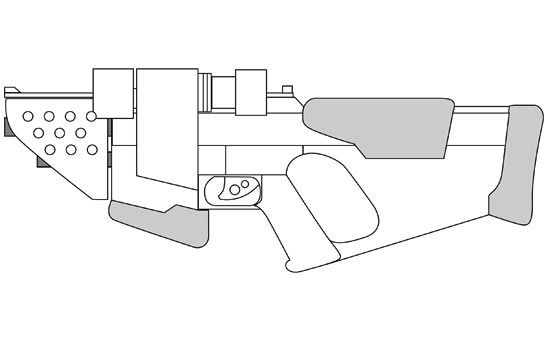 Measuring this, I started designing my blaster, first in Illustrator to work out the basic look…