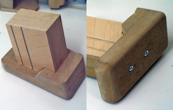 The magazine was also built out of MDF. The channels were cut using the table saw. The screws secured the base to the magazine but were left exposed (for looks).