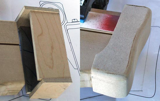 The butt plate started as a simple MDF box and was shaped on the belt sander to smooth all the edges.