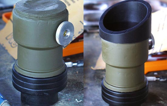 """I painted the rear scope body and added a screw knob I found in the """"screw can"""". The assembled rear scope. The """"lens"""" is held in place by the PVC eyepiece."""