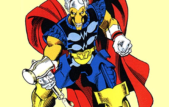 This hammer was designed By Walt Simonson in his brilliant run on the Thor comic book in the late 80s.