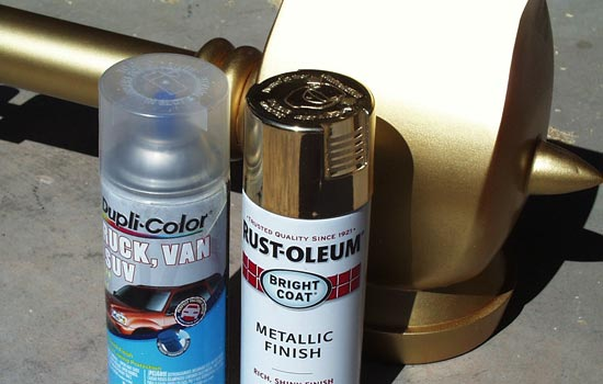 After MANY coats of automotive primer, I painted all the parts with Rustoleum Gold paint. Unfortunately the metallic gold is very prone to scuffing so I coated it with Dupli-color automotive Clear Coat. It dulled the finish a bit but not too badly.