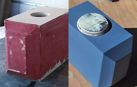 """The porous edges of the MDF were coated in Bondo spot filler and sanded smooth. I then gave it several coats of automotive sandable primer. The """"cap"""" was cut from a piece of plywood and given a bevel. The whole thing was sprayed with more primer coats and then finally a Krylon Aluminum."""