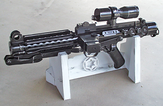 "This replica of the ""Return of the Jedi""-era Imperial Stormtrooper Blaster is entirely handmade from PVC pipe (all tubular elements) and styrene plastic, the exception is a resin pistol grip."