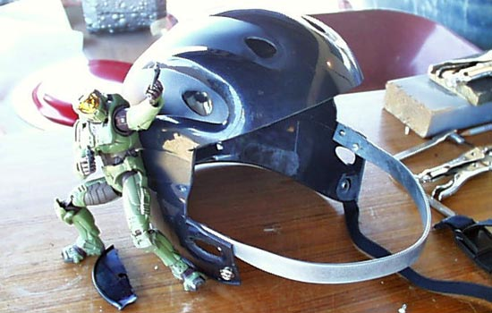 I screwed on a strip of steel for the jaw portion of the helmet