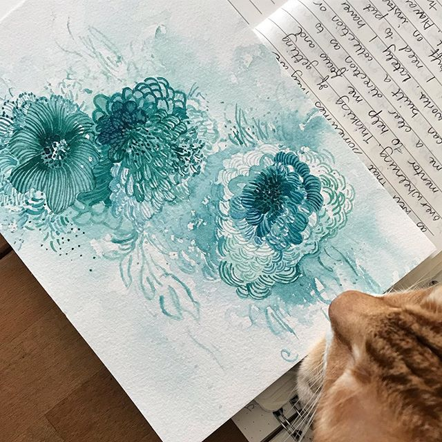 Always nice when the kitty admires my work. Painting & journalling has been part of my morning ritual that sets me up for the day (especially the day job! ) often when I don't put some me time first I would feel out of sorts and be much less productive then when I didn't.  #selfcare #selfcaresolution #darilunawings #dariluna #creativeshiftcircle #creativewomxn #watercolor #grlue #abstractflowers #abstractblooms #suzyreading